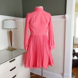 Vintage Pink Fit Flare Pleated Dress - S